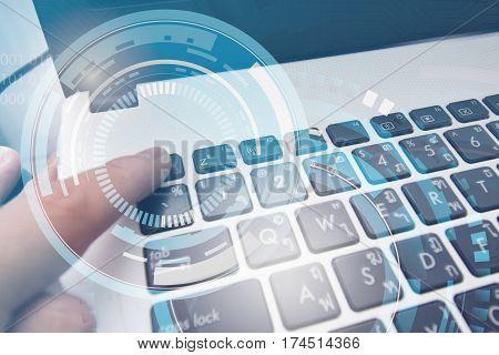 Push button on keyboard computer techonology digital