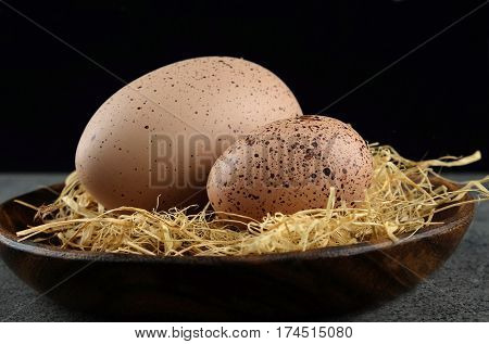 Two quail easter eggs on wooden plate on dark background.