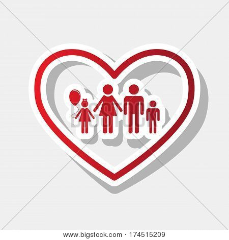 Family sign illustration in heart shape. Vector. New year reddish icon with outside stroke and gray shadow on light gray background.