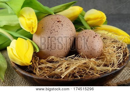 Easter colorful quail eggs and yellow tulips on sackcloth and dark background.