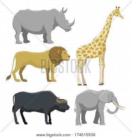 Cute giraffe cartoon savanna comic safari animal. Big elephant and funny lion tropical nature wildlife safari mammal. Vector illustration of jungle characters.