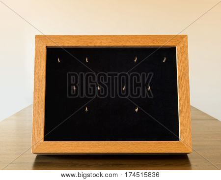 Wooden display case with glass window to show small jewelry or products in store or art fair
