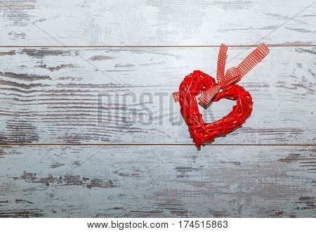 Wicker Red Heart On Gray Background