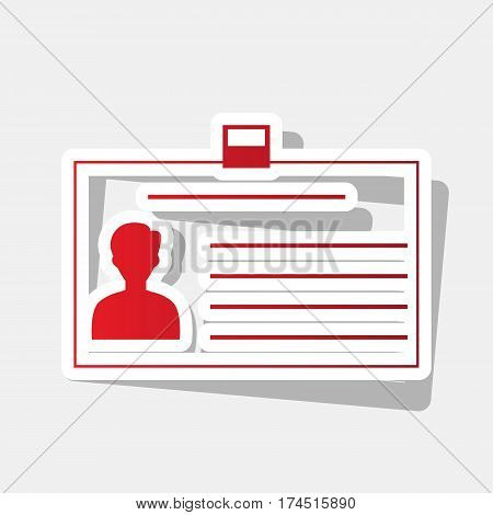 Identification card sign. Vector. New year reddish icon with outside stroke and gray shadow on light gray background.