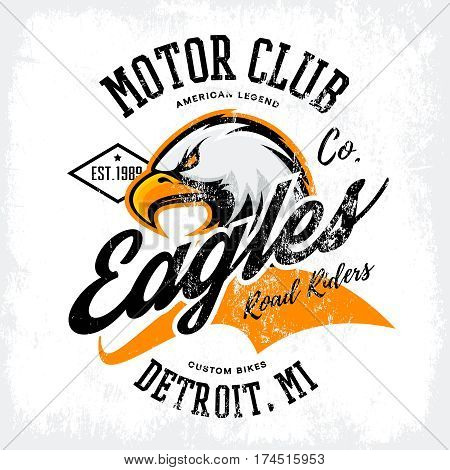 Vintage American furious eagle custom bike motor club tee print vector design isolated on white background.  Michigan, Detroit street wear t-shirt emblem. Premium quality wild bird superior logo concept illustration.