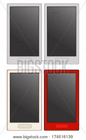 Set smartphones with cases of different colors. One phone with a cracked screen. Vector illustration