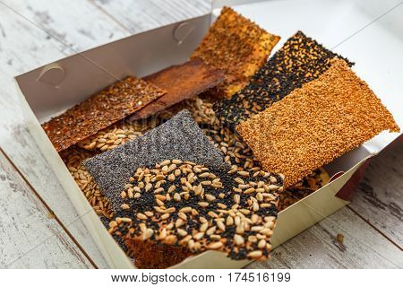 Thin Healthy Seed Crackers In Box