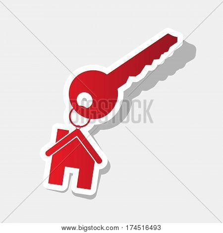 key with keychain as an house sign. Vector. New year reddish icon with outside stroke and gray shadow on light gray background.