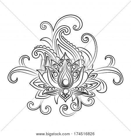 Sketch of a lotus on a white background.Vector ornamental Lotus, ethnic zentangled henna tattoo