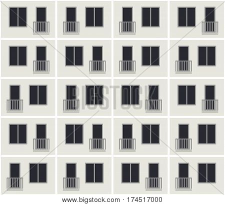 Seamless pattern of the apartment building facade. Vector background of condominium house.
