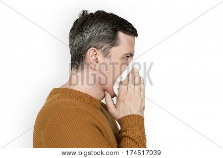 Man Sneezing Cold SIckness Fever Handkerchief