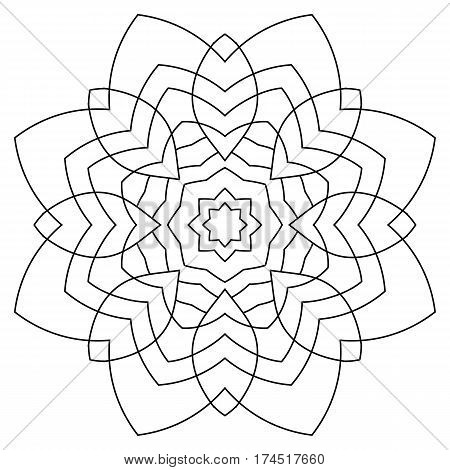 Monochrome Mandala. The template for the album. Symmetrical ornament for color book. Beautiful outline for coloring. Floral motif of leaves.