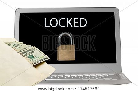 Modern laptop computer with ransomware locking applications. Envelope with money represents ransom