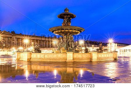 The fountain at the Place de la Concorde in Paris at night France