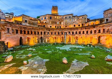 Panoramic view on Trajan's Market, a part of the imperial forum of Rome, Italy