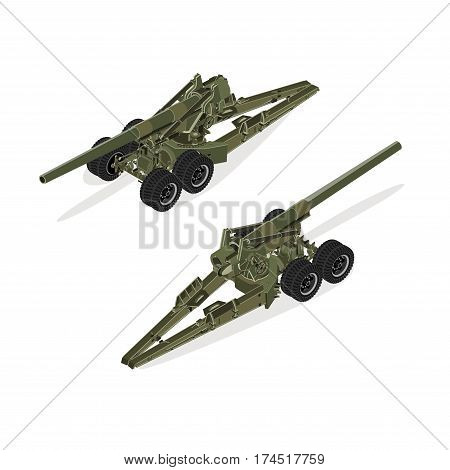 Isometric green artillery vector isolaed on white