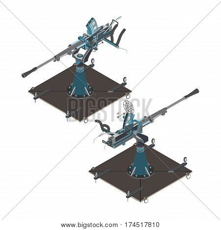 Isometric air defense gun vector isolated white