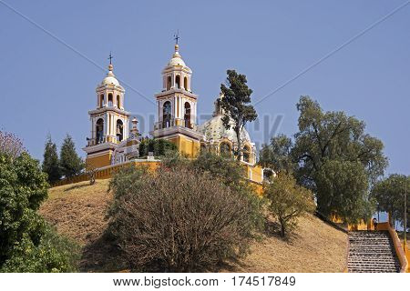Ancient church on top of a pre Columbian pyramid in Cholula Mexico