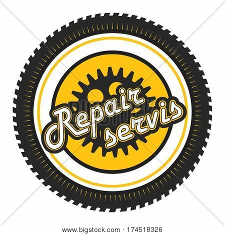 Vector illustration pattern round sign remontyny fast technical assistance service in a round tire mark text