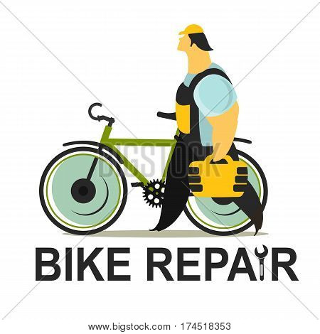 Vector illustration of a repairman working on a white background is a tool box to fix the bike