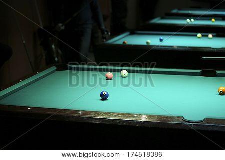 Pool Balls On Green Pool Table