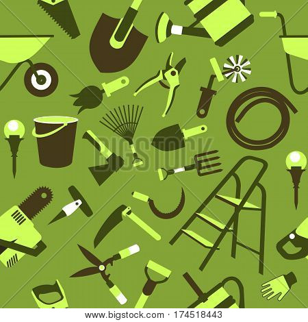 seamless pattern Set of icons of garden tools work equipment Design element for advertisment green