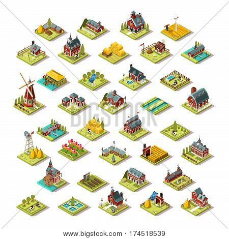 Isometric farm house building stuff farming agriculture scene 3D icon set collection vector illustration