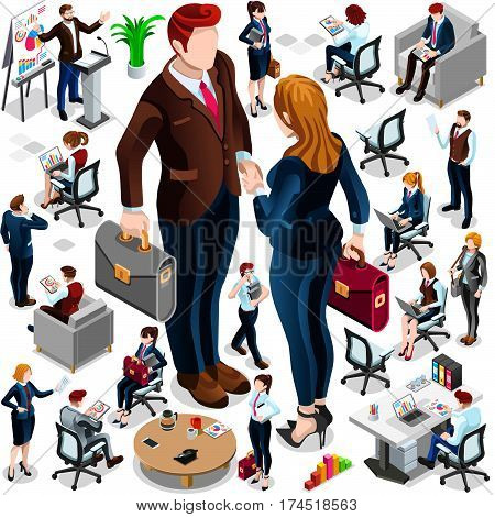 Isometric people isolated meeting management staff crowd infographic. 3D Isometric boss person icon set. Creative design vector illustration collection
