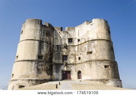 view of the castle of Evoramonte close to Evora Alentejo portugal.