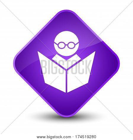 Elearning Icon Elegant Purple Diamond Button