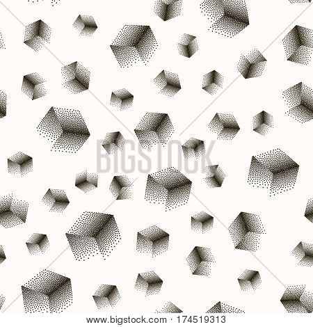 Vector seamless abstract pattern with dotted cubes on a white background. Useful for wrapping, web backgrounds and wallpapers