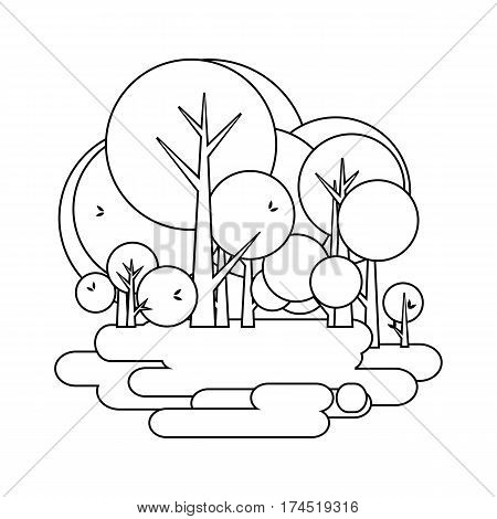 vector illustration of a stylized emblem of the Environment park trees black and white line drawing
