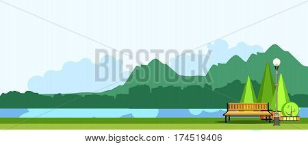 vector illustration horizontal panoramic landscape of mountainous terrain summer day park near the place of the river for recreation cozy bench cropped trees in the park flower beds.