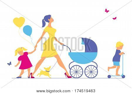 Woman with two children and dogs. Super mother walks with children
