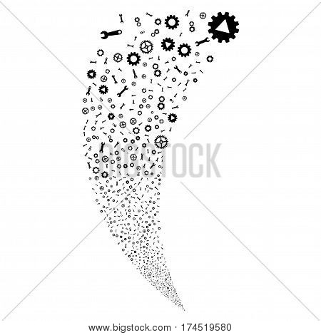 Setup Tools random fireworks stream. Vector illustration style is flat black iconic symbols on a white background. Object fountain created from scattered pictographs.