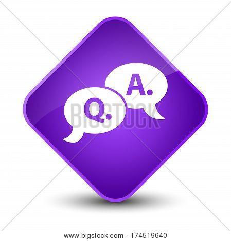 Question Answer Bubble Icon Elegant Purple Diamond Button