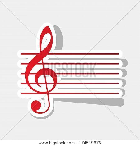 Music violin clef sign. G-clef. Vector. New year reddish icon with outside stroke and gray shadow on light gray background.