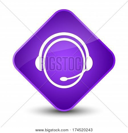 Customer Care Service Icon Elegant Purple Diamond Button