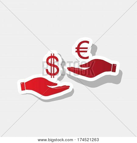 Currency exchange from hand to hand. Dollar adn Euro. Vector. New year reddish icon with outside stroke and gray shadow on light gray background.