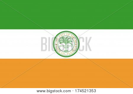 Flag of Miami is a city of Florida United States. Vector illustration