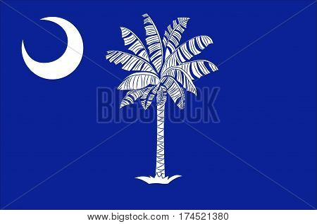 Flag of South Carolina is a state of the United States. Vector illustration