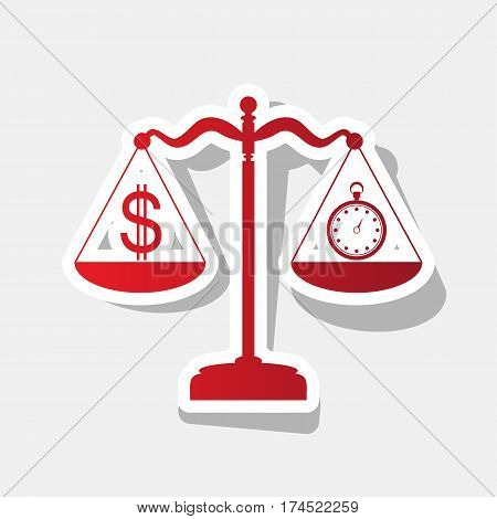 Stopwatch and dollar symbol on scales. Vector. New year reddish icon with outside stroke and gray shadow on light gray background.