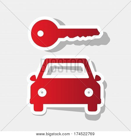 Car key simplistic sign. Vector. New year reddish icon with outside stroke and gray shadow on light gray background.
