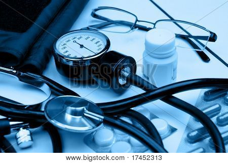 Medical hospital background in blue