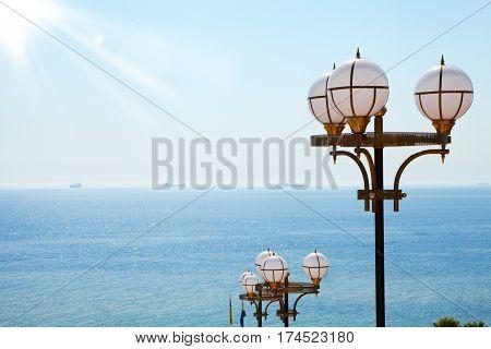 Lantern on the beach. Nature and sea