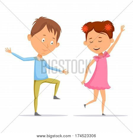 Boy and girl with flowers in hair dancing, schoolboy and schoolgirl in dress or skirt having a dance. Kids or children playing or grimacing. Small or little people, childhood, music and celebration