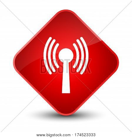 Wlan Network Icon Elegant Red Diamond Button