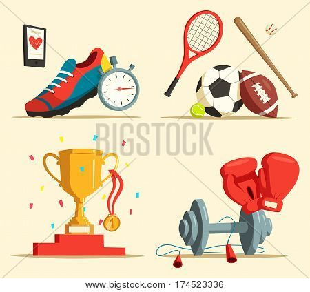 Jogging or running shoes, trophy or cup with medal and confetti, boxing gloves and dumbbell, skipping rope, tennis racket and soccer, rugby ball and baseball bat. Sport activity or exercise theme