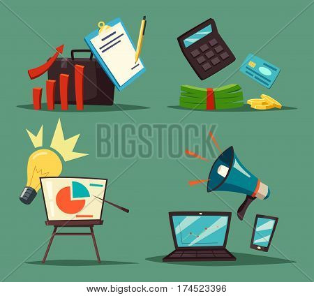 Bag or briefcase, sheet of paper with notes and pen, calculator and dollar banknotes or cash, credit card, lamp and circle graph with pointer, loudspeaker and notebook. Economy analytics, marketing