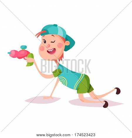 Little schoolboy in cap or smiling kid aiming with alien or laser toy gun. Boy or child lying and playing. Playtime and activity, cartoon young happy people and childhood, schoolchildren and youngster